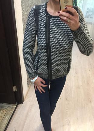 Вязаный пиджак кардиган marks&spenser акрил+шерсть
