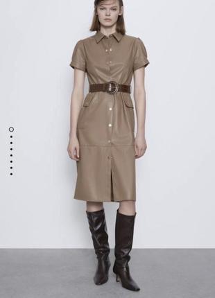 Платье zara миди кожа с поясом1 фото