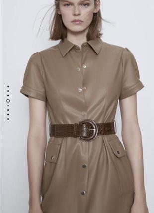 Платье zara миди кожа с поясом2 фото