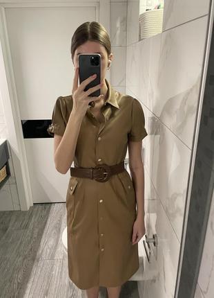 Платье zara миди кожа с поясом3 фото