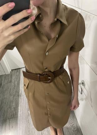 Платье zara миди кожа с поясом4 фото