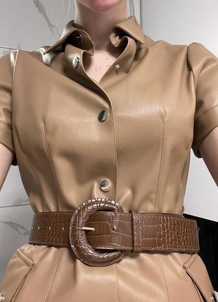 Платье zara миди кожа с поясом5 фото