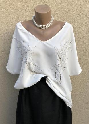 Белая,комбинирован.блуза реглан,заклепки серебро-золото по груди,большой размер