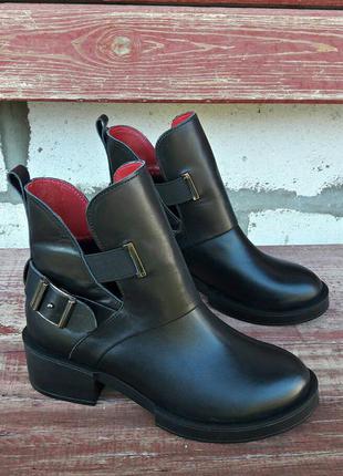 Кожаные ботинки в стиле hermes черные все размеры 36-40