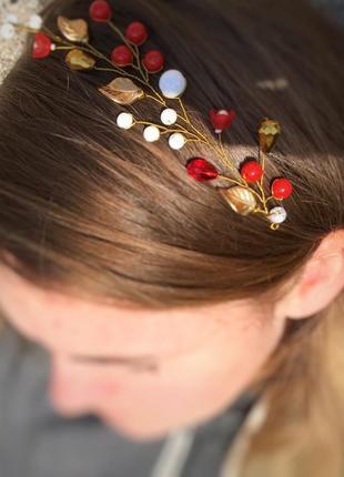 Ветка для волос /красный золото белый