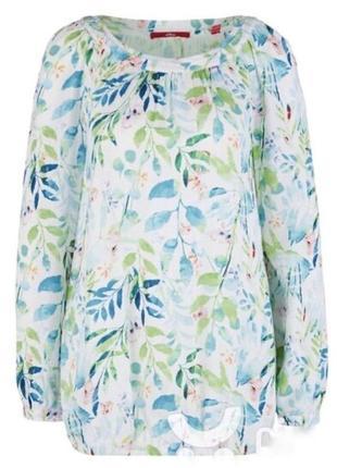 Лёгкая летняя блуза блузка рубашка в принт цветов растений
