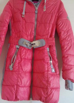 Куртка зимняя длинная +шарф/500
