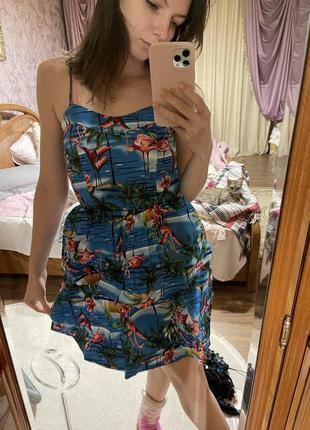 Платье, сарафан,  летнее, пляжное с фламинго