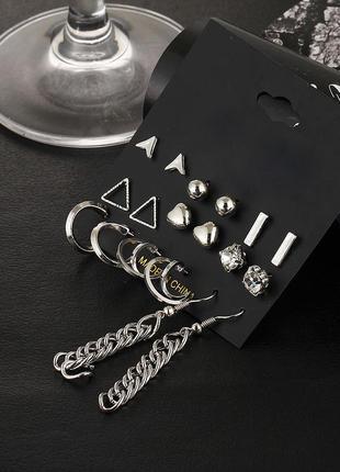 Набор сережек 9 пар ( серьги кольца, сердечки, треугольники, гвоздики серебристые  )