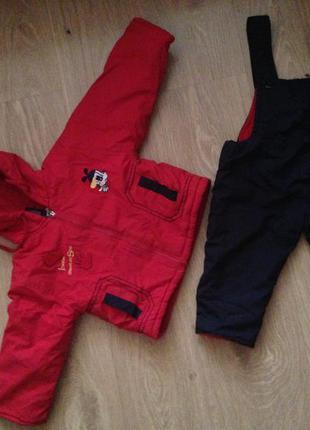 Тёплый детский костюм: полукомбинезон и куртка