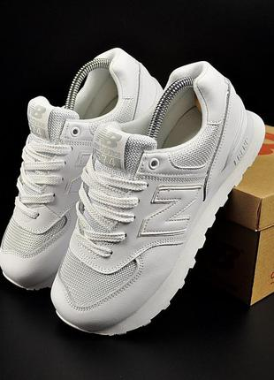 Женские кроссовки new balance 574 all white белые