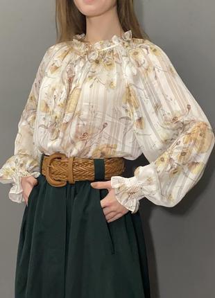 Винтажная нарядная блуза прованс пышные рукава цветочный принт