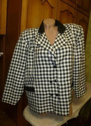 Винтажный теплый жакет-женский пиджак в клетку,двубортный,ссср,р.48-52