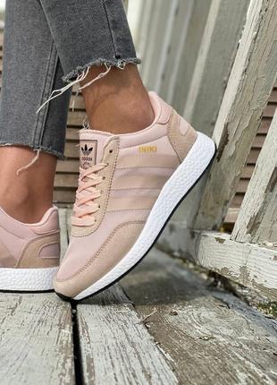 Новые женские кроссовки adidas iniki runner pink розовые пепельные на весну лето