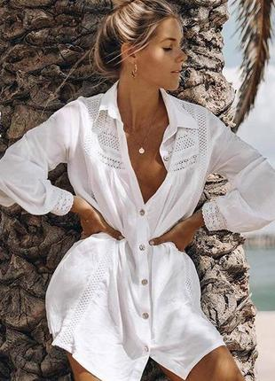 Пляжная туника. пляжная накидка. пляжная рубашка