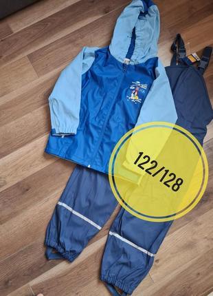 Комплект lupilu грязепруф на флисе дождевик (германия) куртка и полукомбинезон 122/128 р.