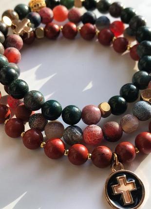 Микс браслетов яшма, агат-кракле, гелиотроп (натуральные камни)