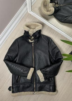 Женская дублёнка zara зара авиатор косуха черная куртка
