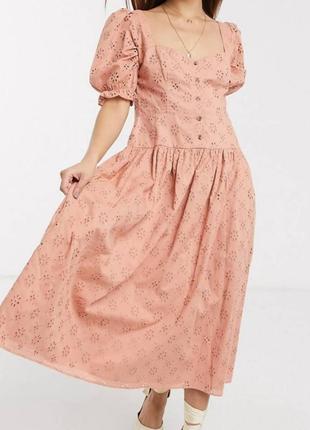 Asos платье миди персик коттон прошва рукава фонарики