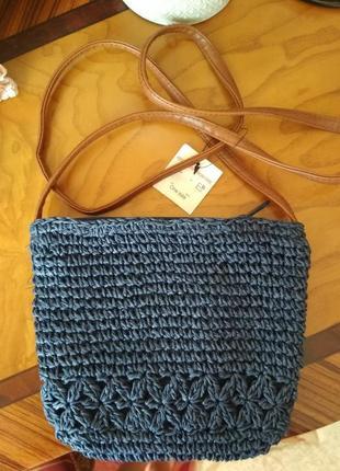 Соломенная плетёная макраме синяя летняя сумочка сумка кроссбоди через плечо