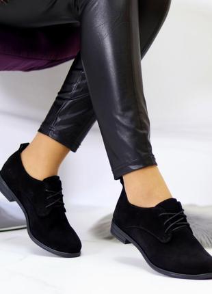 Классические чёрные замшевые туфли на шнуровке,стильные женские туфли на низком каблуке