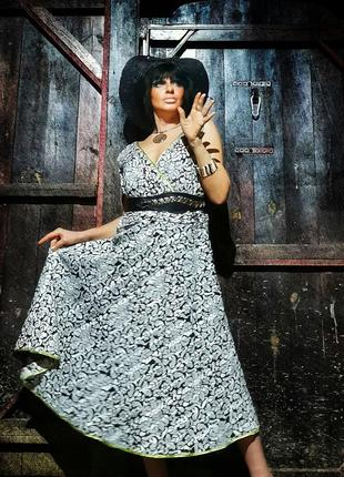 Платье миди коттон хлопок robbie bee в принт батал большого размера сарафан расклешенный