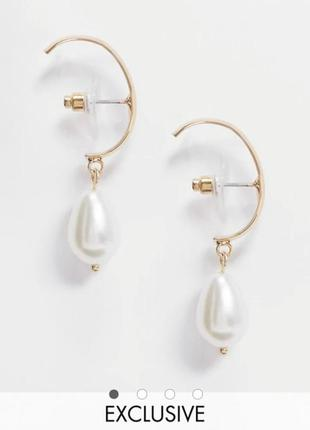 Сережки підвіски з перлиною, серьги гвоздики с подвеской жемчуг designb asos