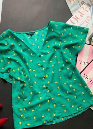 Зелёная блузка с лимонами, рюши, пуговицы, топ лимоны