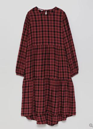 Натуральное платье миди в клетку lefties новое свободный крой размер s, l новое