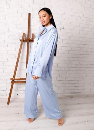 Шелковый комплект рубашка штаны свободный крой с пуговицами