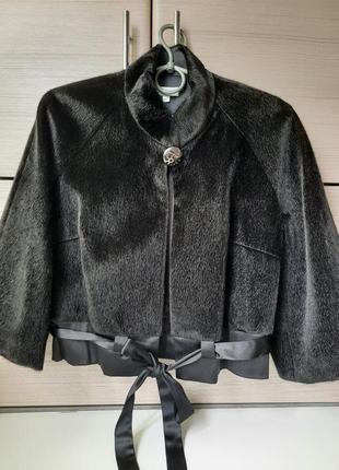 Укороченная меховая куртка-накидка пиджак, жакет иск.мех стриженная норка