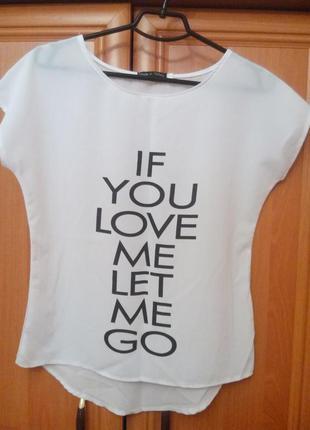 Классная шифоновая блуза с надписью
