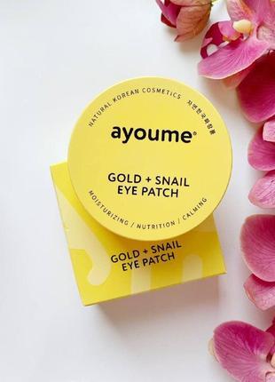 Гидрогелевые патчи с золотом и муцином улитки ayoume gold+snail eye patch