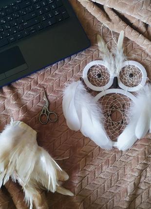 """Белый ловец снов """"сова"""". оберег от кошмаров, подарок."""