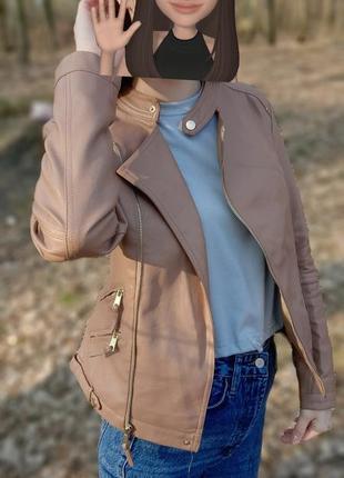Кожанка, косуха коричневая от глория джинс, gloria jeans