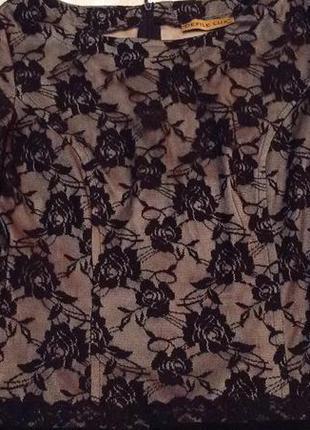 Ажурное платье, внизу-плиссе, подьюпник-атлас р 40