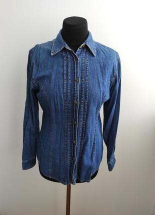 Удлиненная джинсовая рубашка блузка от laura ashley