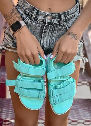 Adidas slippers mint босоножки/сандали мятные голубые
