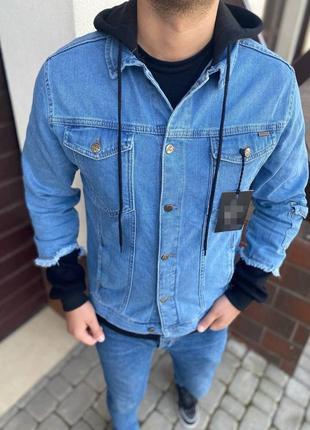Джинсовка джинсовый пиджак мужская с капюшоном синяя / піджак джинсовий куртка курточка