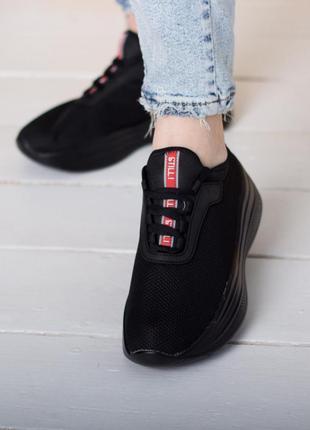 Женские черные кроссовки дешево, жіночі чорні кросівки