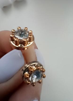 Сережки гвоздики кульчики с камушками