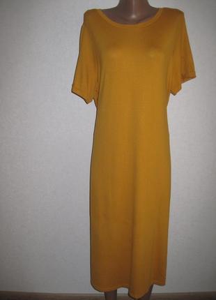 Горчичное трикотажное платье f&f р-р18