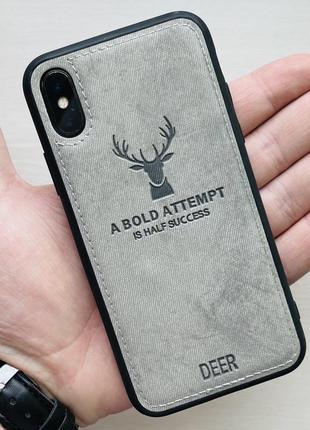 Чехол белый на для айфон iphone 10 xs с рисунком оленя силиконовый deer case