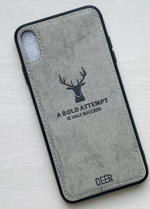 Чехол белый на для айфон iphone xs max с рисунком оленя силиконовый deer case