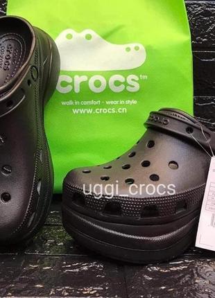 Crocs classic bae clog женские черные крокс на высокой платформе