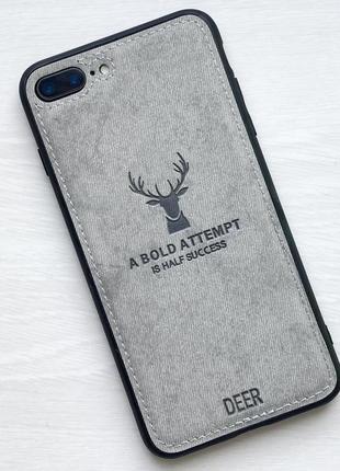Чехол белый на для айфон iphone 7 + plus плюс с рисунком оленя силиконовый deer case
