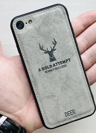 Чехол белый на для айфон iphone 8 с рисунком оленя силиконовый deer case