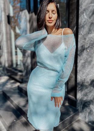 Вязаное платье из мохера паутинка лёгкое шёлковая комбинация ручная работа 💙1 фото