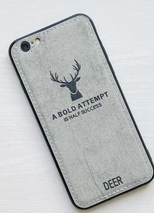 Чехол белый на для айфон iphone 6 с рисунком оленя силиконовый deer case