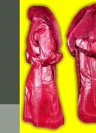 Элегантное кожаное пальто р. 36/s